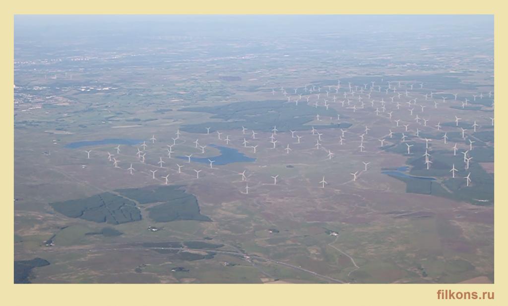 Многочисленные ветроэнергетические установки в Шотландии.
